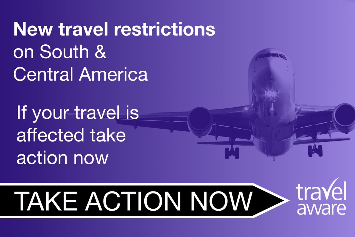 From 4am tomorrow travel restrictions are being placed on South & Central America to protect against a new COVID-19 strain.  These include the following:  Argentina Brazil Bolivia Chile Colombia Ecuador French Guiana Guyana Panama Paraguay Peru Suriname Uruguay Venezuela https://t.co/LkIOI504G4