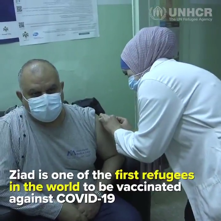 Good news: refugees in Jordan are now receiving #COVID19 vaccinations. 🙏  More from @refugees ⤵️