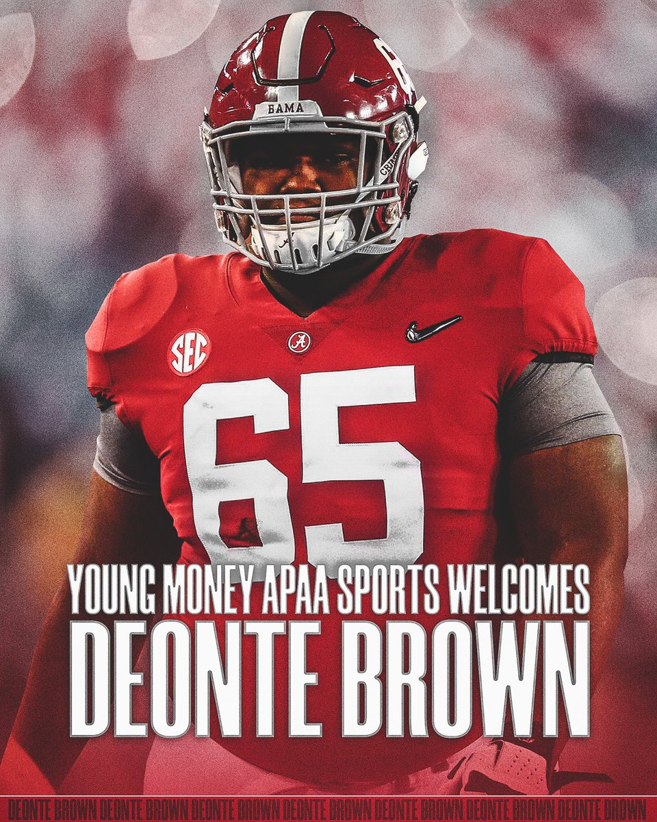 We are excited to announce that Deonte Brown has joined our FAMILY!  6-foot-4, 350-pound MONSTER! Deonte Brown did not allow a single sack across 4 seasons at @AlabamaFTBL   He's an absolute CERTIFIED people mover.  #YMAPAA #RollTide #NFL
