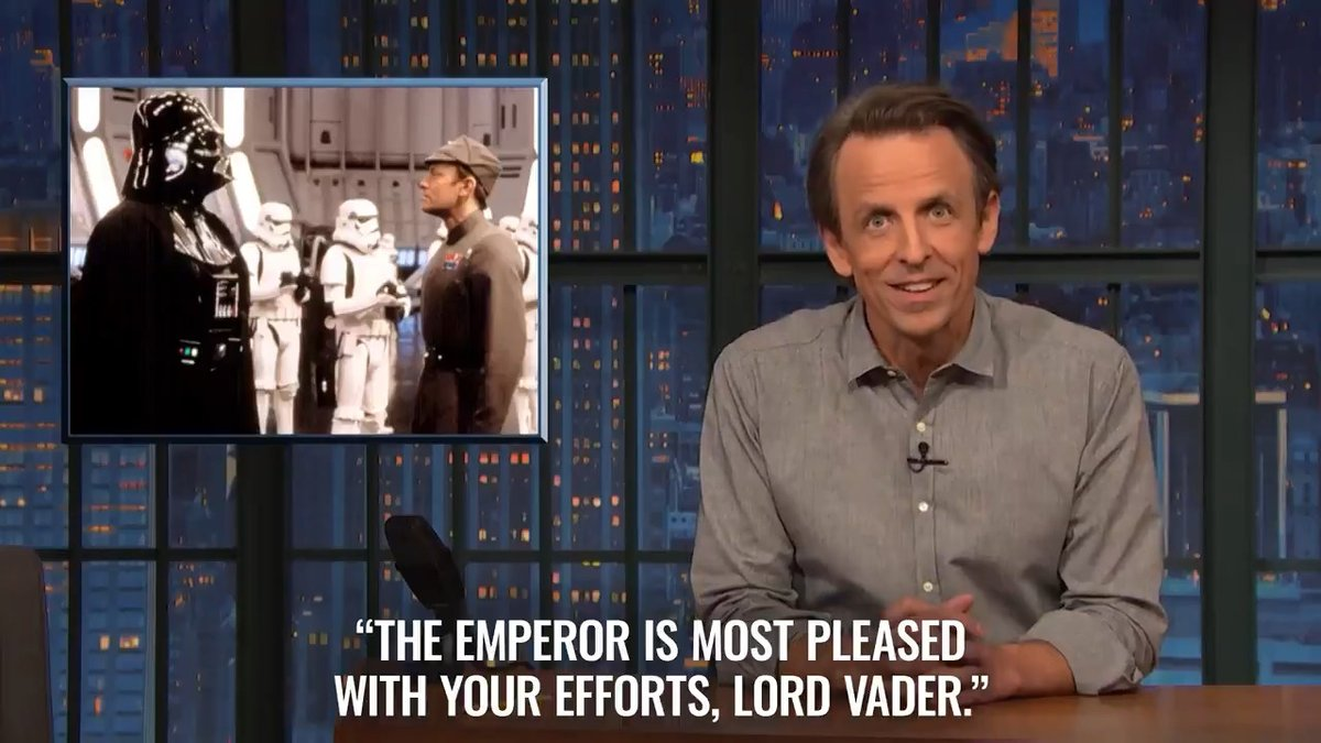 """'Pleased' is the highest level of happiness for villains."" – @SethMeyers #ACloserLook"