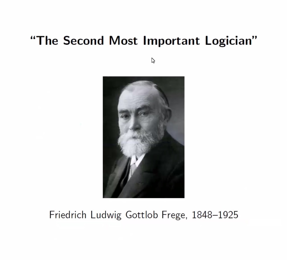 Friedrich Frege worked on universal language of mathematics. Is he the second most important logicians? Some say this title should go to #Gödel. - Moshe Vardi @vardi in his #WorldLogicDay talk From Aristotle to the iPhone @RiceCompSci #LogicDay #ComputerScience