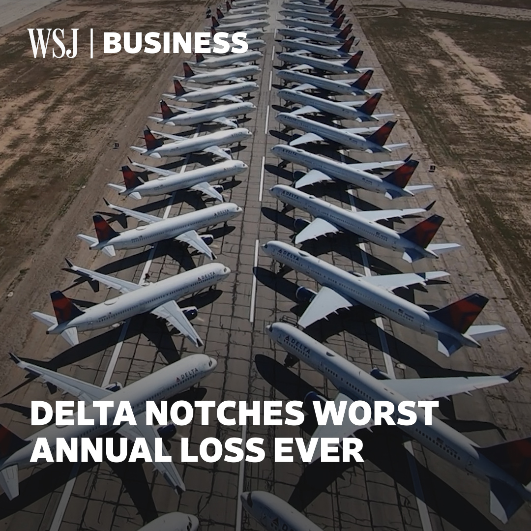Top story: @WSJ: '#WSJWhatsNow: Delta lost nearly $12.4 billion in 2020, making it the company's worst year ever and marking its first annual loss since 2009  ' , see more