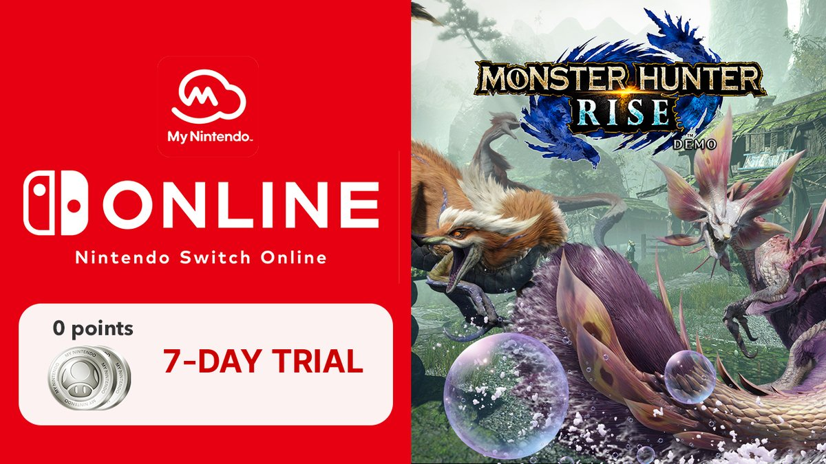 The Monster Hunter Rise demo is here, and you can use a Nintendo Switch Online membership to play with friends!   Not a member yet? Get a free 7-day trial today from My Nintendo: