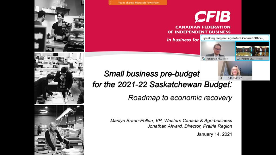 #CFIB thanks @PremierScottMoe for meeting to discuss #smallbiz pre-budget priorities for the upcoming 2021-22 Saskatchewan Budget & what other measures are needed to help small businesses recover.