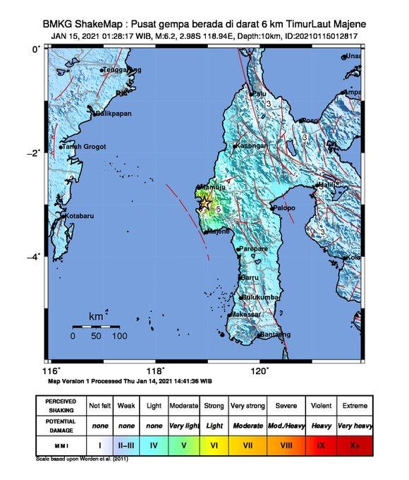 Pusat Gempa 6.2 SR di Majene, Sulawesi Barat