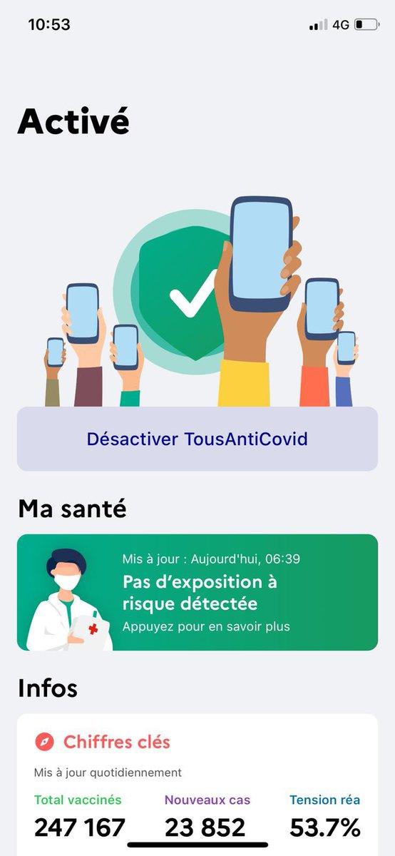 ✈️ Si vous projetez de vous rendre en France depuis les Etats-Unis, songez à télécharger l'application #TousAntiCovid📱 Outre les indicateurs sur la pandémie en France et son évolution, l'application indique désormais le nombre de personnes vaccinées 💉 📈