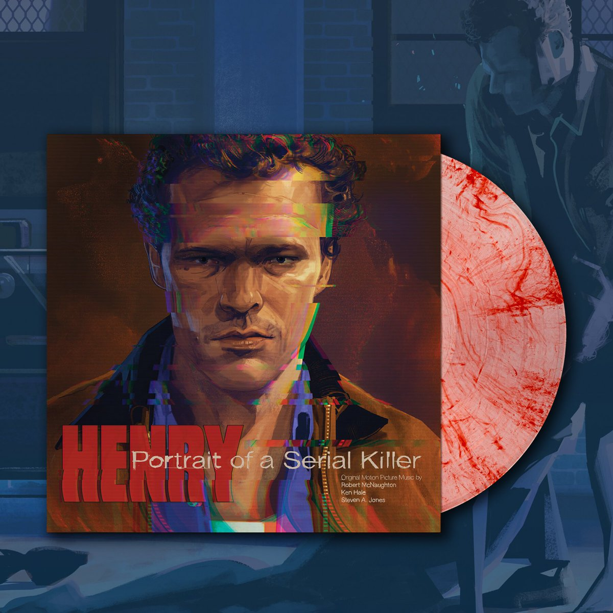 "On Sale Tomorrow! HENRY: PORTRAIT OF A SERIAL KILLER Original Motion Picture Soundtrack! Features new art by @TheRichKelly, 180 gram ""Crime Scene"" colored vinyl, deluxe packaging, printed inserts, and more. 11AM CST!"