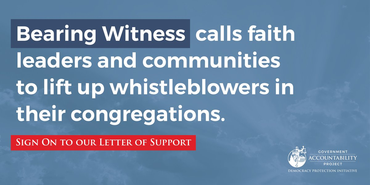 Clergy: Now is the time to act in support of potential #whistleblowers in your congregations. #BearingWitness offers free resources. Sign @GovAcctProj's faith-based letter in support of whistleblowers who bravely defend democracy ➡️ democracy.whistleblower.org/open-letter