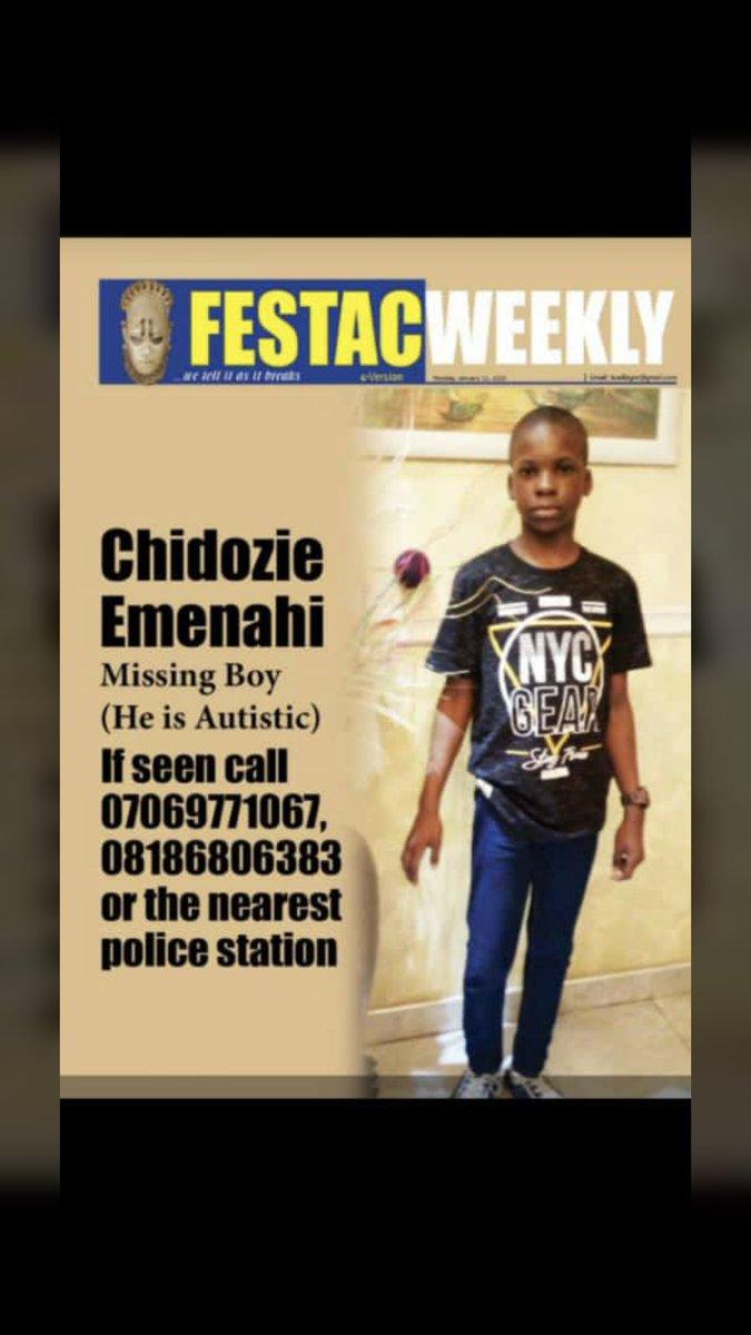 Replying to @nazaezeobi: Please help us find Dodo, he's my cousins son.  Please retweet🙏