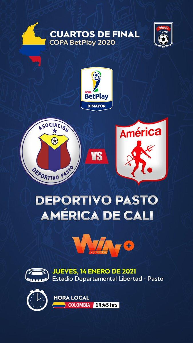 HOY 📺▶#LACOPAxWIN @DeporPasto 🆚 @AmericadeCali  Relata:🎙 @TatoSanint Comenta:🎙 @dperezdeportes  📺💻📱▶ @WinSportsTV ➕  #FutbolColombiano #CopaBetplayDimayor ⚽🇨🇴🏆