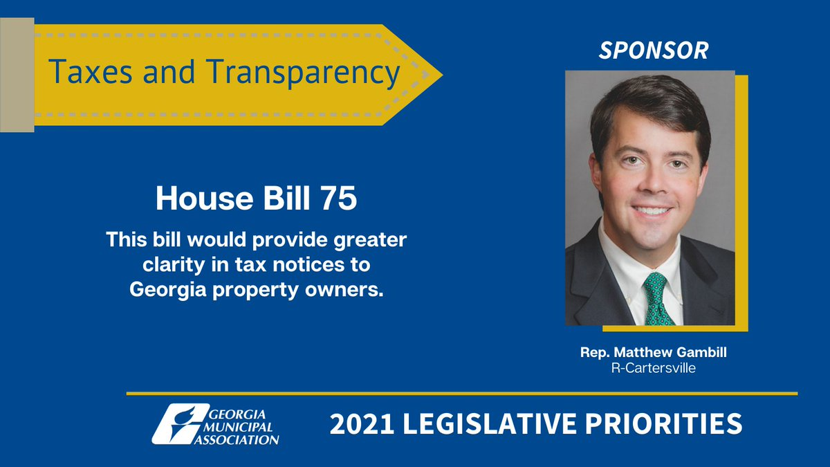 GMA thanks Rep. @matthew_gambill for sponsoring HB 75 ()!   This taxpayer-friendly legislation will allow Georgia's Cities & @GACounty governments to provide transparency by showing the causes of increased property tax revenue. #GaCities @cvillebartow