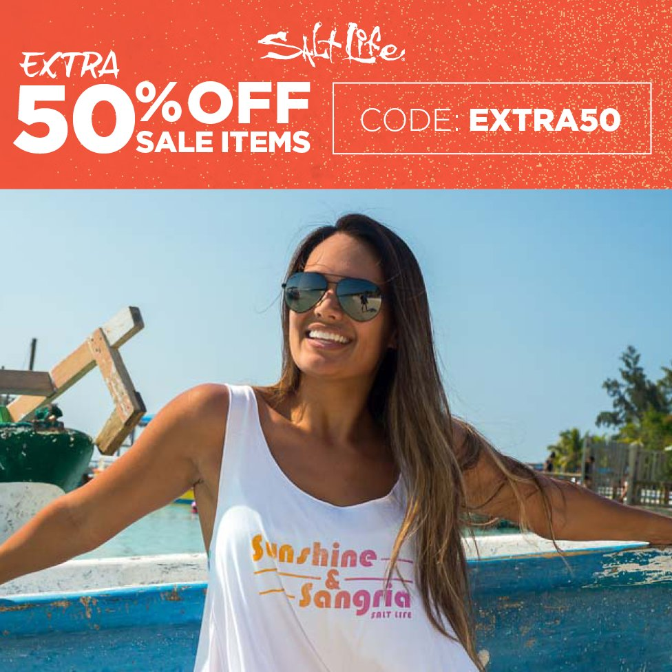 Reel in additional savings during the long weekend for men, ladies, kids and gear!  Save an EXTRA 50% Off Sale Items with Code: EXTRA50 Shop Now:   #SaltLife #SaltLifeSale