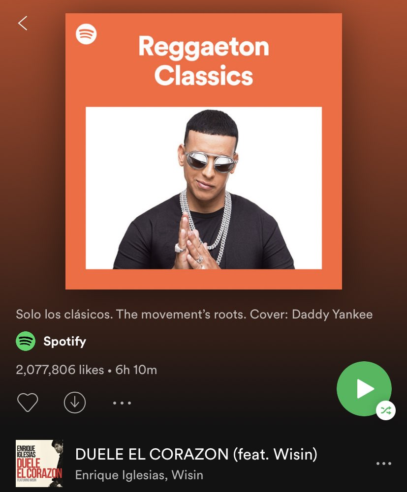 Check out #DUELEELCORAZON on @Spotify's Reggaeton Classics playlist
