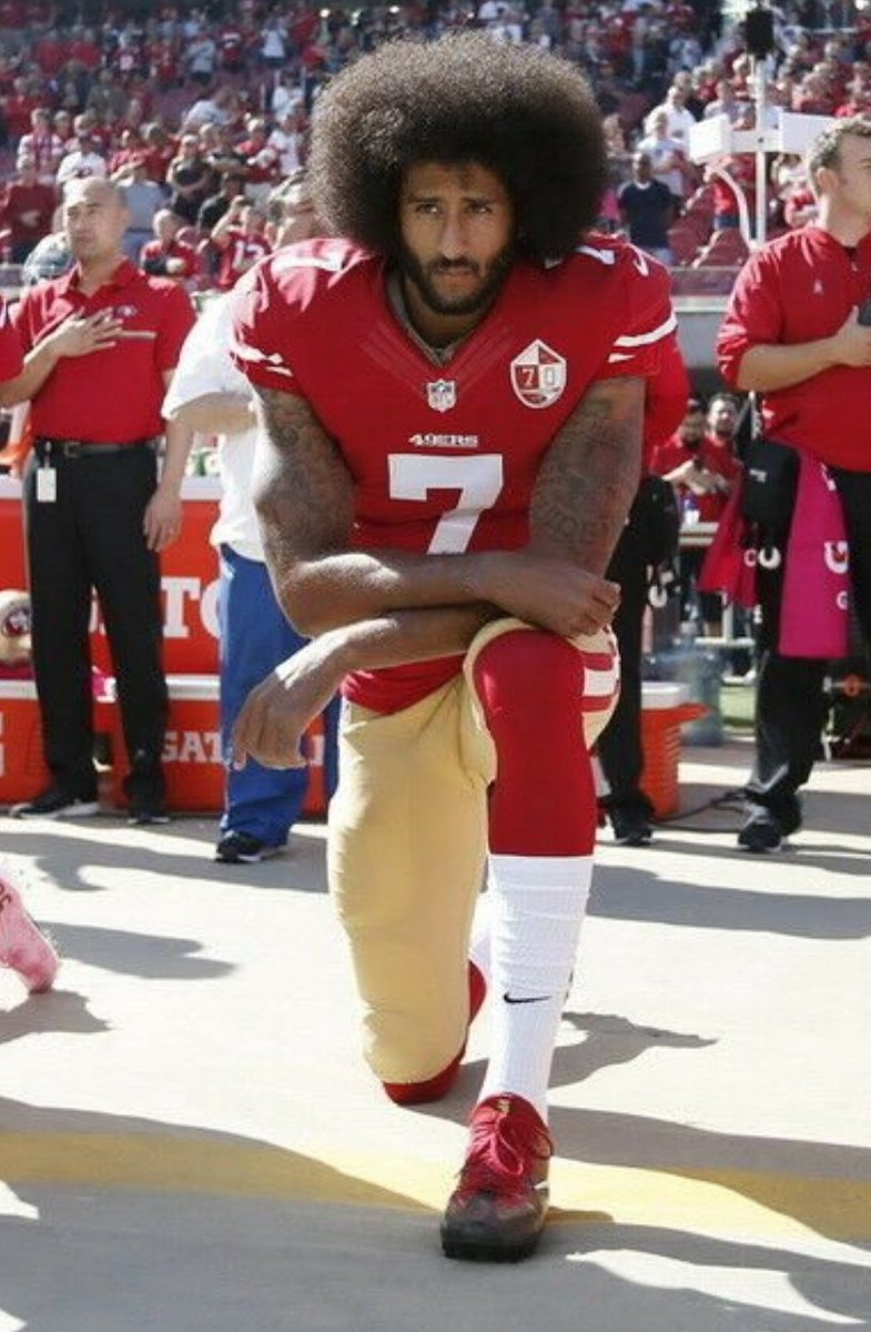 In 2016, @Kaepernick7's kneeling during the National Anthem was characterized as disrespecting the flag and he was blacklisted from the @NFL   In 2021, MAGA Terrorist Peter Francis Stager beat an officer unconscious with an American Flag and hailed as a Patriot