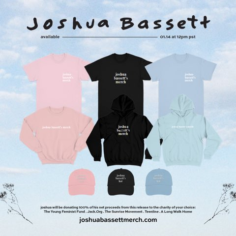 Joshua's merch store is up now! ALL proceeds go to the charity of your choice.