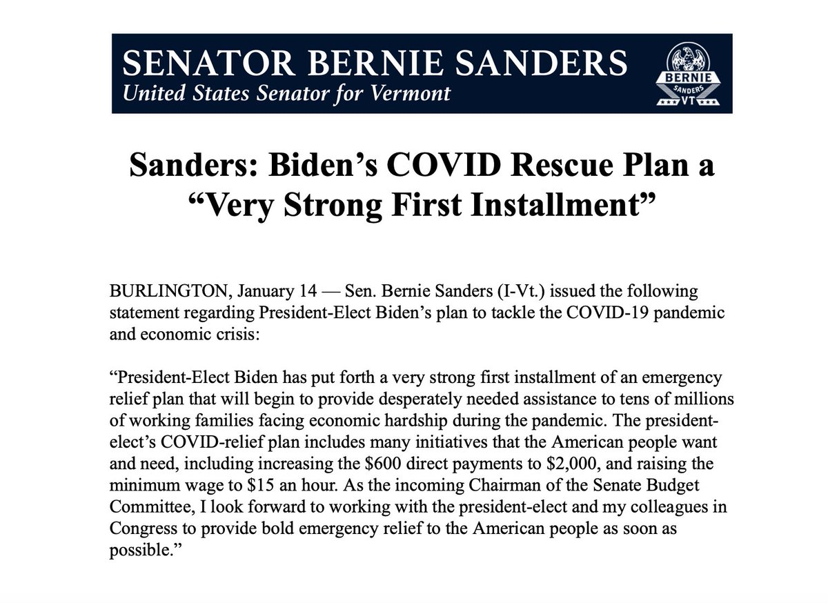 President-Elect Biden's COVID rescue plan will begin to provide our people with much-needed support, such as $2,000 direct payments and a $15 minimum wage.  I look forward to working with him and my colleagues in Congress to urgently provide bold relief to working families.