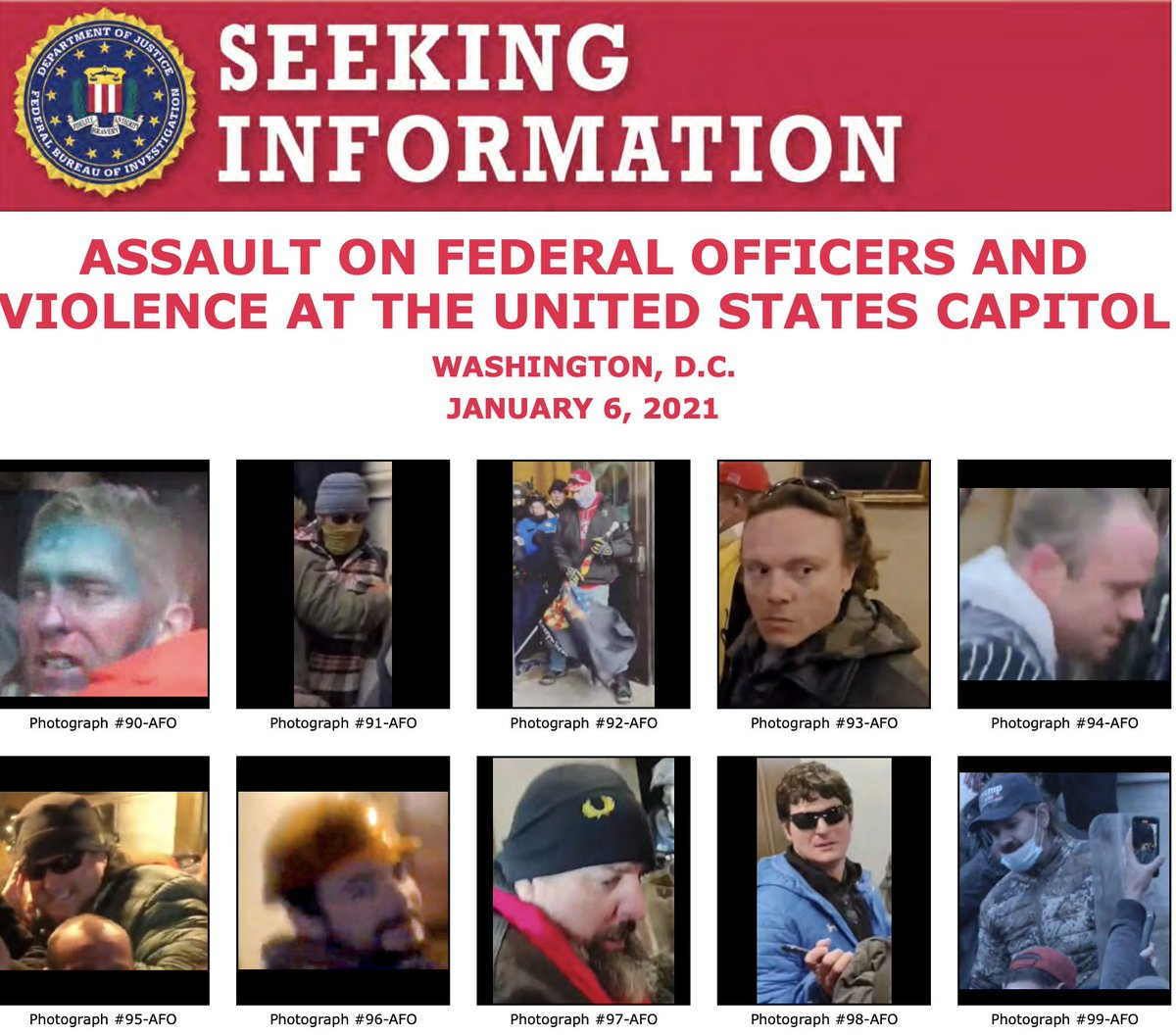 We posted new photos of individuals who unlawfully entered the U.S. Capitol and assaulted federal officers last week. The #FBI needs your help to identify them. Take a look at . If you see someone you know, submit a tip at . @FBIWFO