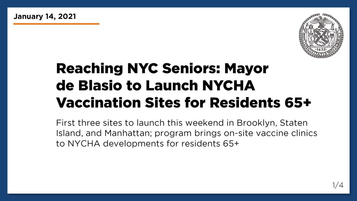 Replying to @nycgov: BREAKING: @NYCMayor to launch @NYCHA vaccination sites for residents 65+ this weekend.   Read more: