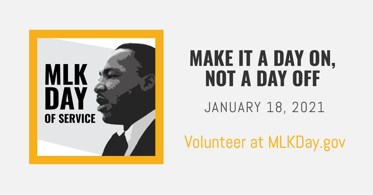 #MLKDay is designated as a national day of service to encourage all Americans to volunteer to improve their communities. You can use this @AmeriCorps search tool to find volunteer opportunities near you this weekend: