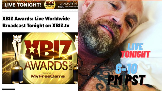 Tonight I will be presenting at the @XBIZ awards first virtual show! Tune in from 6pm with Red Carpet
