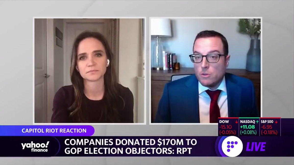 Don't be quick to give corporate America credit for pausing political donations.   Companies have already donated $170 MILLION to lawmakers that rejected the election results.   As soon as this blows over, the donations will likely start flowing again.