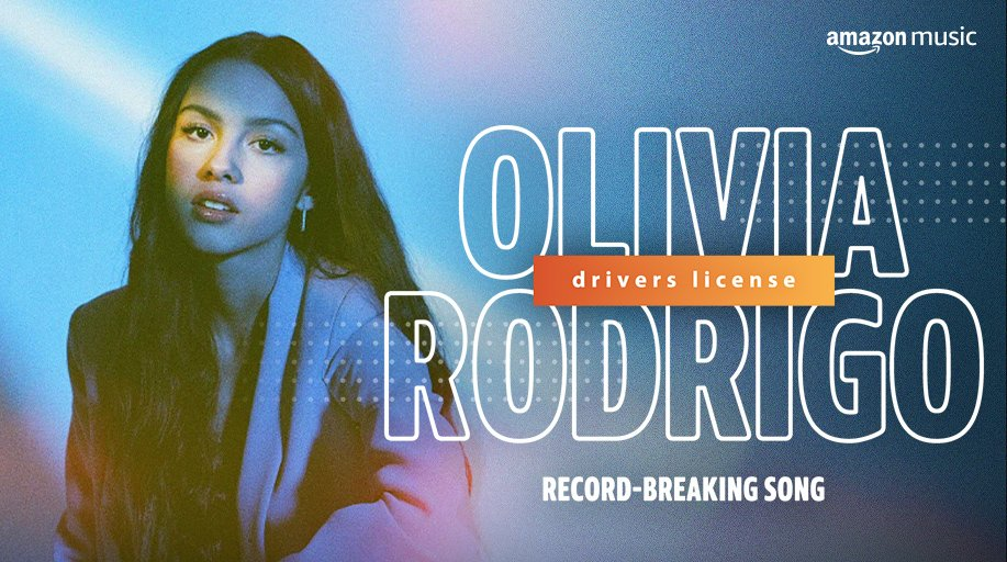 "Congrats to @Olivia_Rodrigo! ""drivers license"" broke the record for the most requested song ever in one day on Alexa globally + the biggest first week streaming debut ever globally on Amazon Music 🎉🚙  Listen now 🎧:"