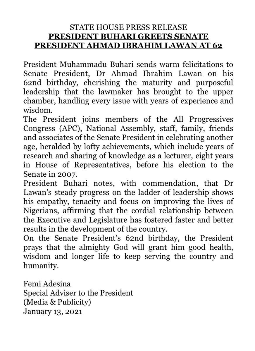Replying to @NGRPresident: President @MBuhari greets Senate President @DrAhmadLawan at 62