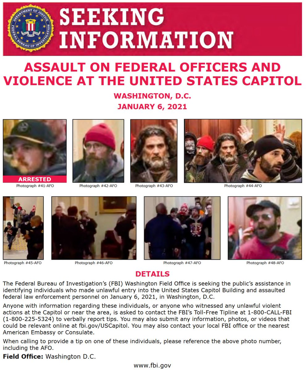 UPDATED SEEKING INFORMATION POSTERS: Keep up to date on the defendants charged in federal court in DC @USAO_DC related to crimes committed at the U.S. Capitol on Wednesday, Jan. 6, 2021. justice.gov/opa/investigat…