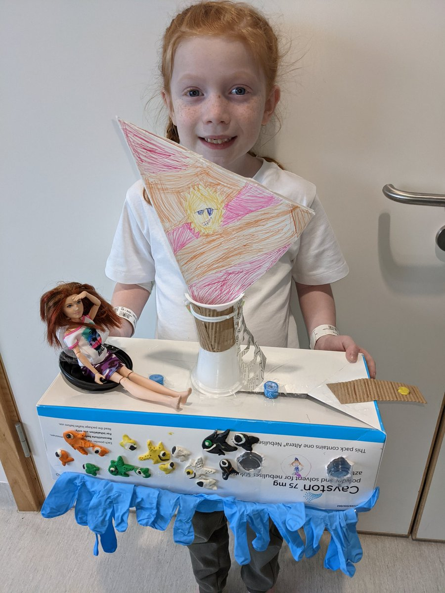 Josie's ship, including flag, crows nest, ladder, portholes and the scary walk the plank ☠️. All made from materials we could find in the hospital. @MissCGrice @MonksdownSchool @AkoStace @AlderHey