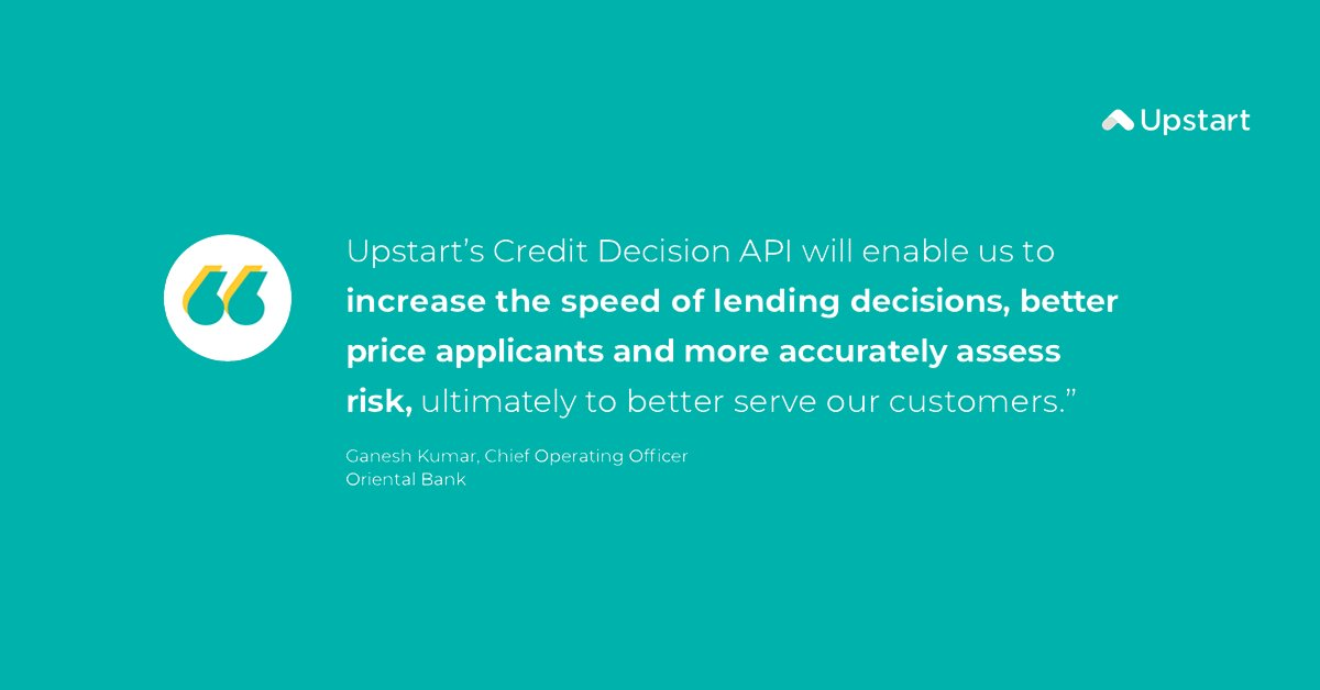 test Twitter Media - We are delighted to welcome @ORIENTAL_BANK as one of the newest banks in the Upstart family to use artificial intelligence for automated credit decisions!  #ailending #artificialintelligence #lending #fintech https://t.co/hTRJHZgoPG