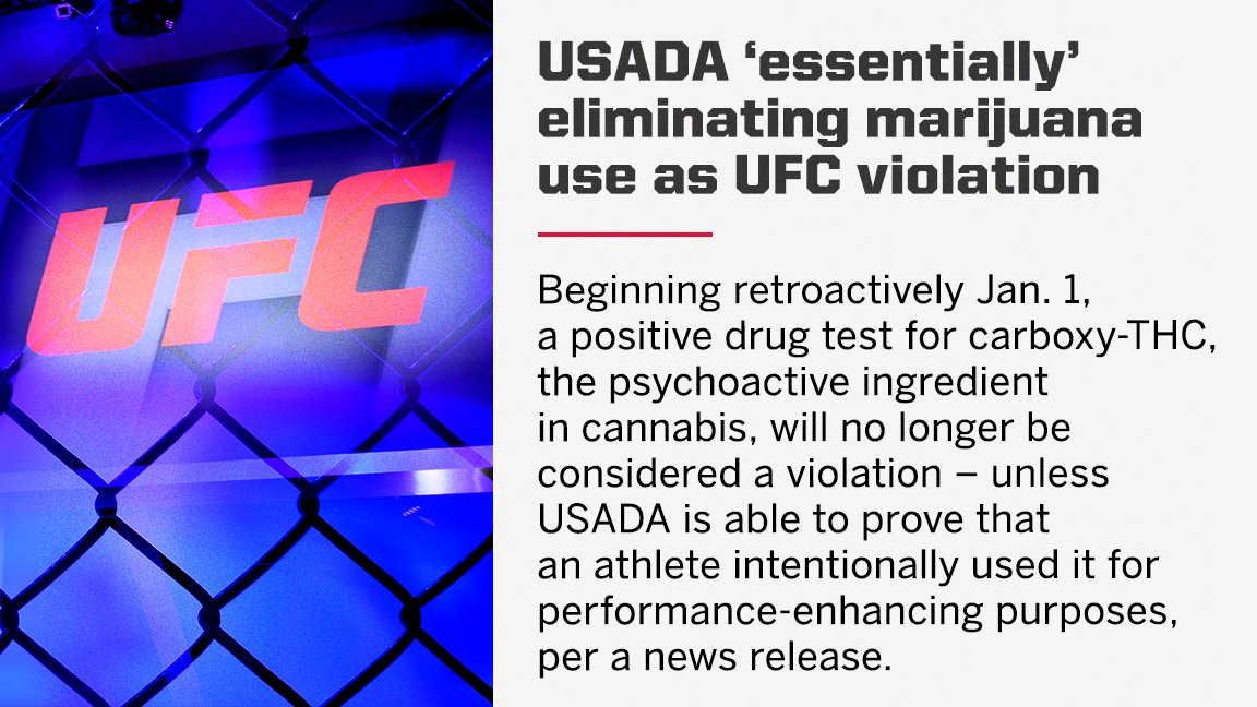 "The UFC has ""essentially"" struck marijuana as a punishable offense in its anti-doping policy.  (via @marc_raimondi) https://t.co/nHsVlQnMvp"
