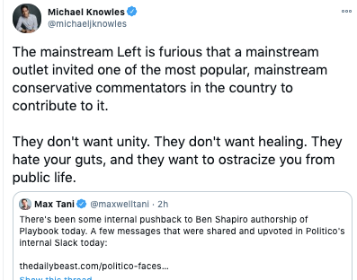 "This is the move, right here: Right-wing elite gets platformed, there's a backlash, and then the response is that the attack on the right-wing elite is an attack on the right-wing as a whole. The ""75 million Trump voters,"" Shapiro's podcast audience, it's all the same thing. https://t.co/WQmvjjUUXg"