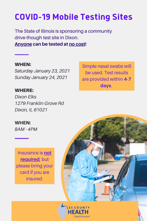 The State of Illinois is sponsoring a community drive-through COVID-19 testing site in Dixon.  The testing site will be open on Saturday, January 23rd and Sunday, January 24th from 8:00 a.m. to 4:00 p.m.  The testing site will be at the Dixon Elks, 1279 Franklin Grove Road. https://t.co/bXaeOrhPxc