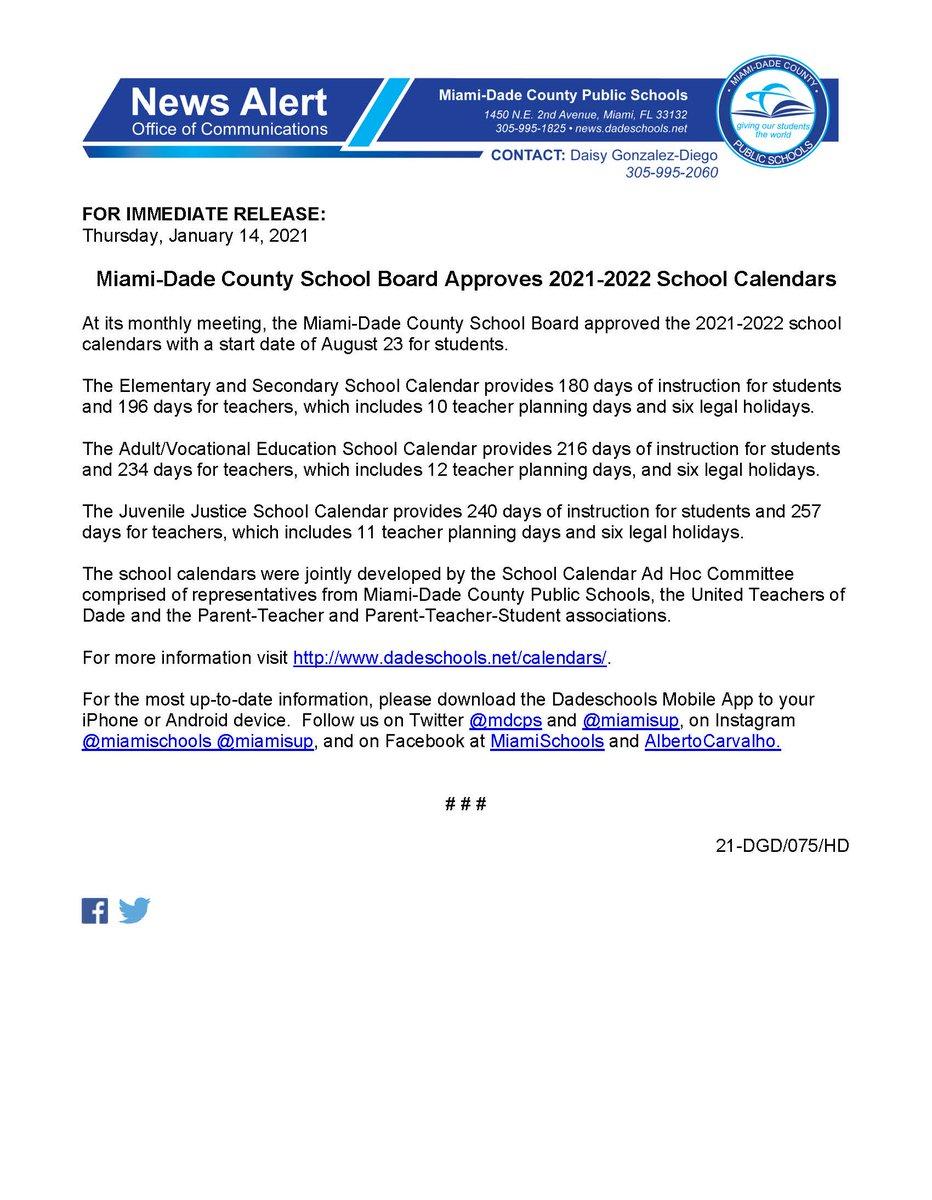 Mdcps Calendar 2022.Miami Dade Schools On Twitter Miami Dade County School Board Approves 2021 2022 Mdcps School Calendars Https T Co 2qtggtncus