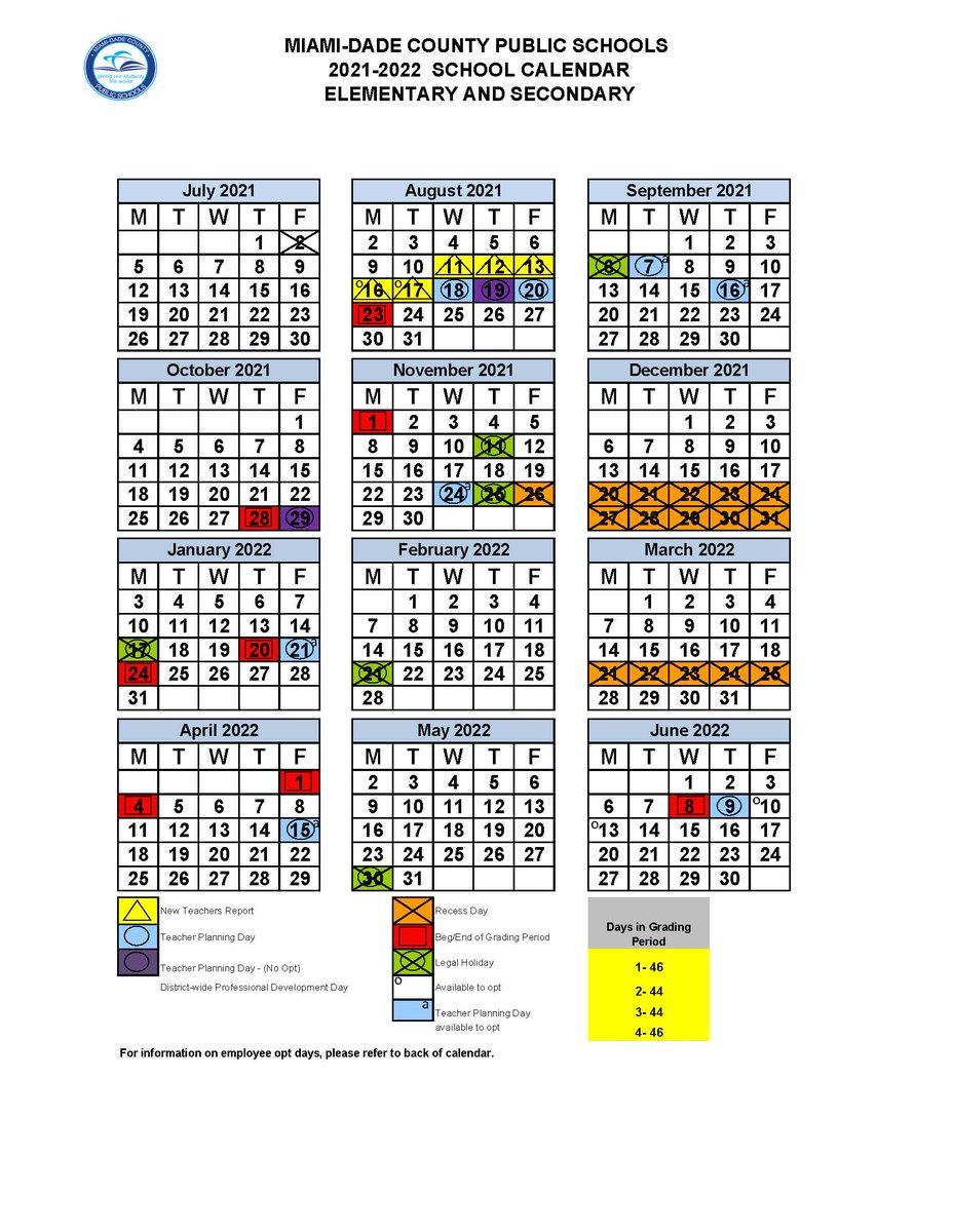 Miami Dade County Public Schools Calendar 2021-2022 Background