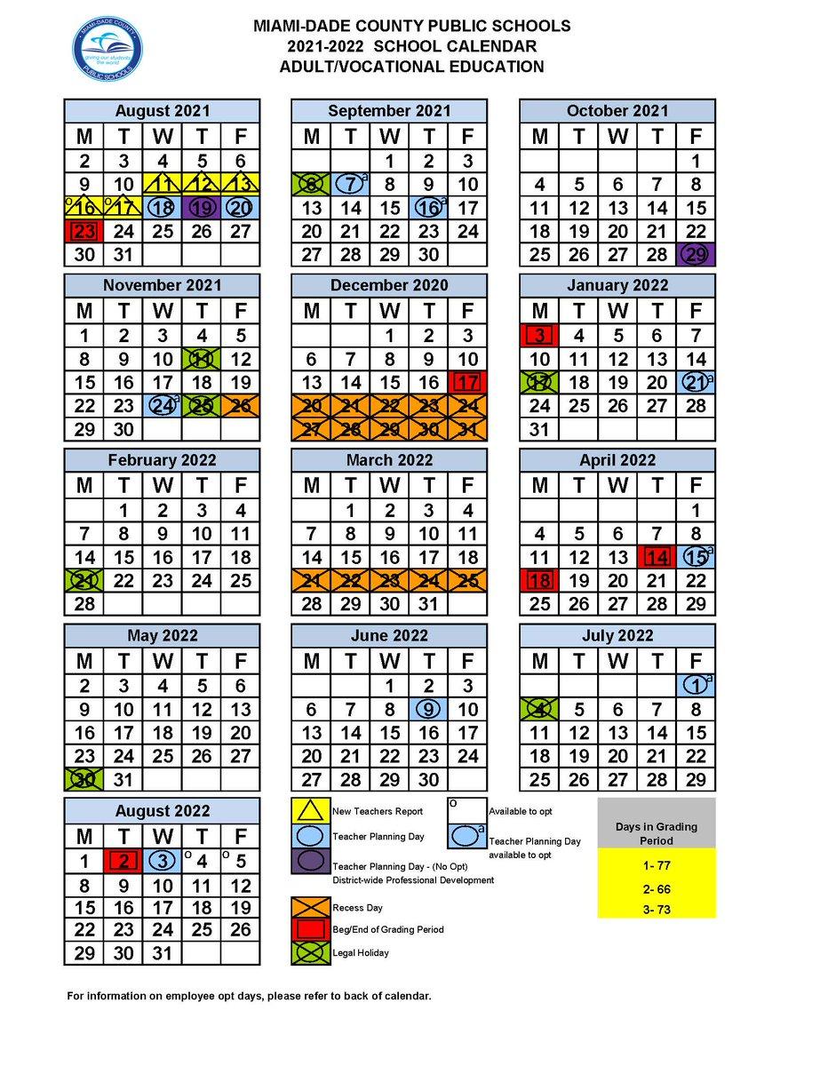 School Calendar 2021 2022 Miami Dade Background