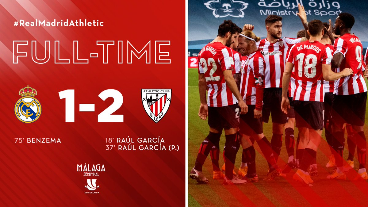 FULL-TIME I Athletic have defeated Real Madrid. The Lions will play in this Sunday's #Supercopa final against @FCBarcelona.   𝗕𝗜𝗭𝗜 𝗔𝗠𝗘𝗧𝗦𝗔!!  #RealMadridAthletic #AthleticClub 🦁