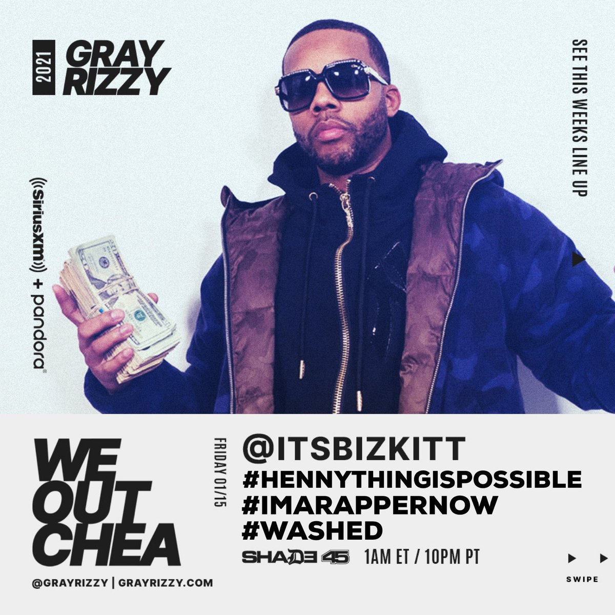 TONITE! The 🌍's Biggest Blogger aka @itsbizkit_ is stopping by the studio with @grayrizzy on The #WeOutchea Show! Starts up at 12a on the East / 9p on the West! Tap in! 💯 #hennythingispossible