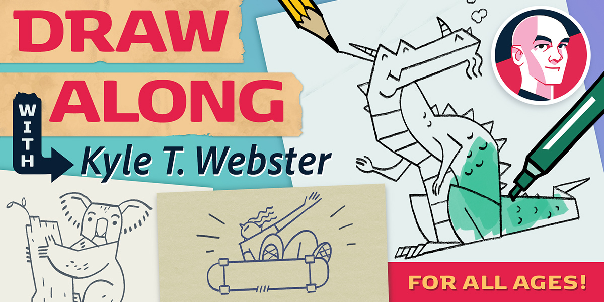 LIVE NOW: Watch @kyletwebster as he shares drawing and inspiration for kids of all ages! Tune in as he incorporates real-time chat feedback into his illustration process and creates along with you.