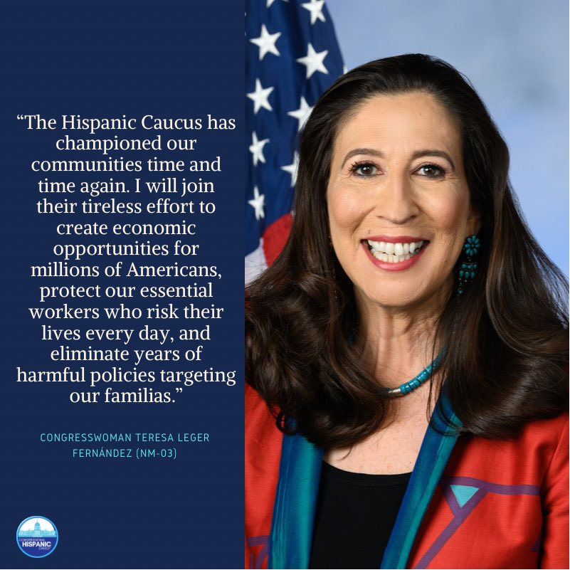 Help us welcome newly-elected @HispanicCaucus Freshman Representative @RepTeresaLF to the and 117th Congress by giving her a follow!