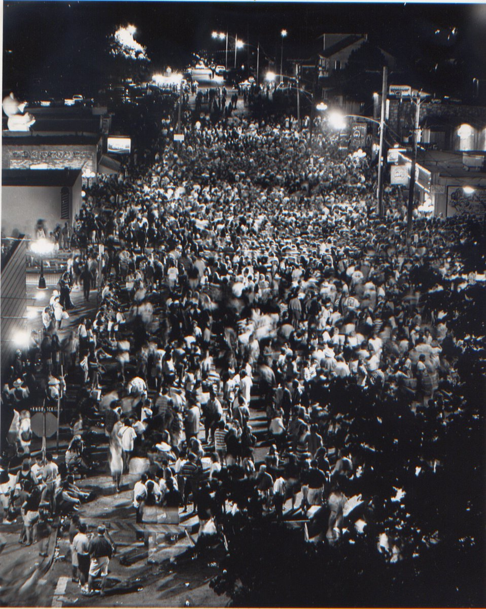 Let's throw it back to the street party days!🎉 Eskimo Joe's anniversary celebrations attracted 1,000's every year. The last major street party celebrated Joe's 18th anniversary in July of 1993, attracting approximately 67,000 revelers over three nights! #ThrowbackThursdays
