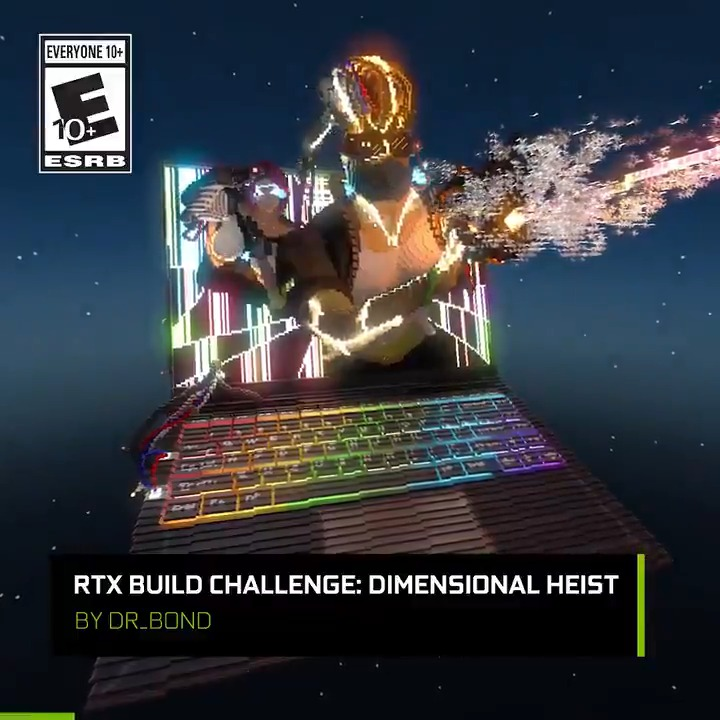 """To celebrate our Minecraft RTX Build Challenge & GeForce RTX 30 series coming to laptops....  @Dr__Bond built this stunning laptop-based sculpture entitled """"Dimensional Heist""""!  What can YOU create in two weeks? #MinecraftRTX"""