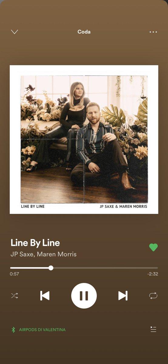 non ne parla nessuno ma oggi è uscita anche #LineByLine di Maren Morris e JP Saxe ed è bellissima