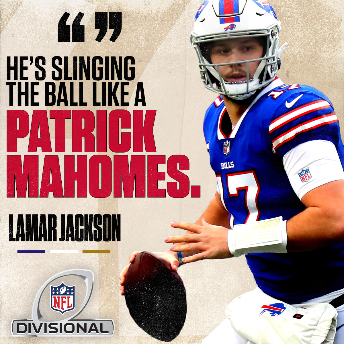 Lamar Jackson showed praise for Josh Allen ahead of Saturday night's #DivisionalRound matchup.   The only downside to seeing them square off... one of their seasons will end.