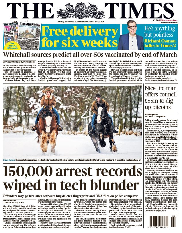 "Friday's Times: ""150,000 arrest records wiped in tech blunder"" #TomorrowsPapersToday #BBCPapers"