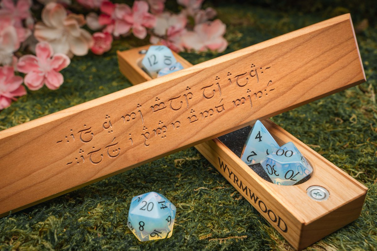 Back by popular demand, our Elvish Dice Vaults are here just in time for Valentine's Day 🌹   Engrave yours with a custom message translated into authentic Quenya Elvish to show someone (or yourself) a little love.  Available NOW: