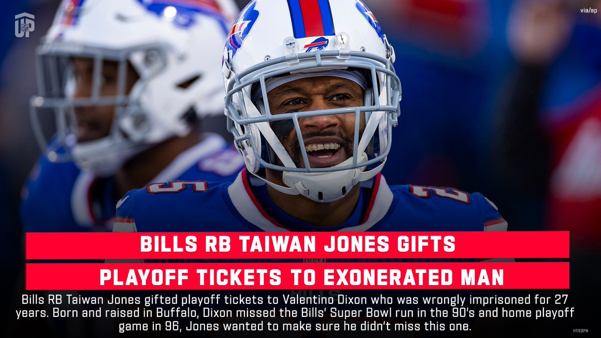 Taiwan Jones wanted to make sure this life long @BuffaloBills fan didn't miss their playoff win.