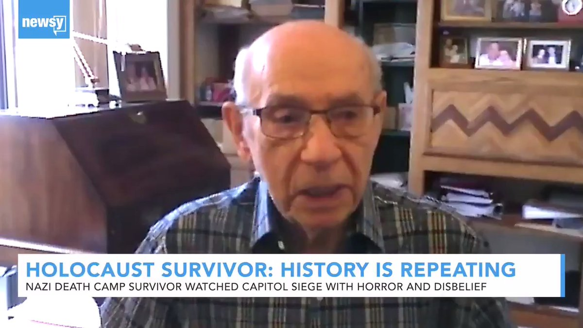 """""""You cannot be apathetic. You cannot be indifferent to what is going on.""""  Holocaust survivor David Lenga deeply impressed me during our @Newsy interview on """"history repeating itself"""" at the U.S. Capitol.   Please take two minutes to watch and listen."""