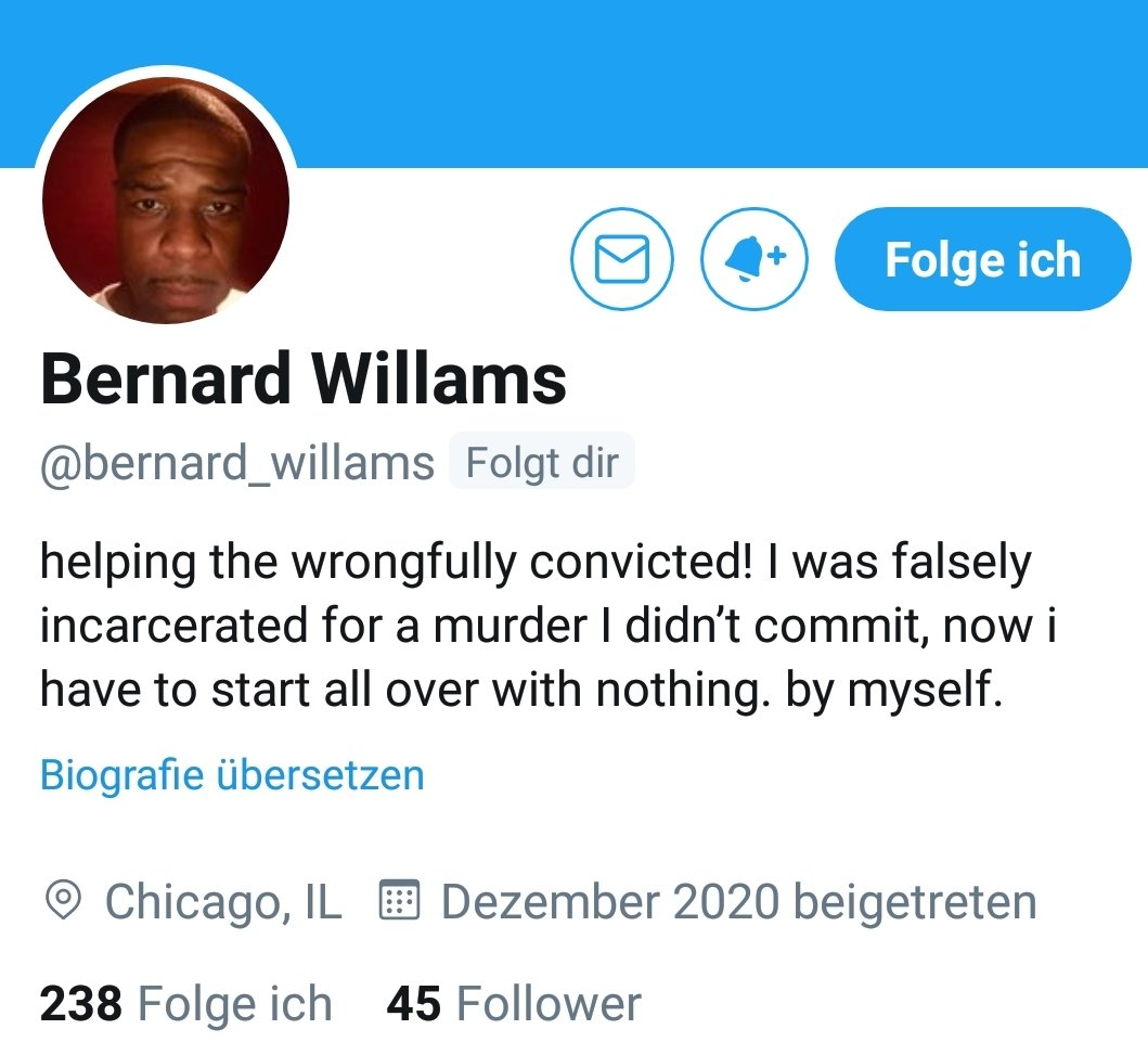 You deserve more followers, @bernard_willams and the law firm @rshc_llp that helped you out of hell, too. You are a testament to what we have known for too long: that the #Justice system in the #USA is rotten to its core: rigged, corrupt, revenge-oriented. #HelpSaveCorey