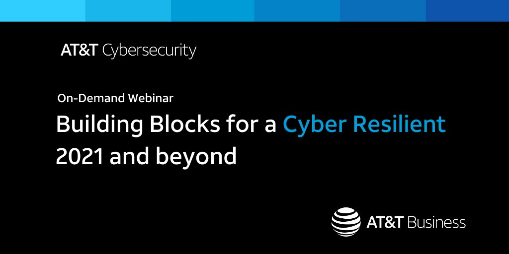 The new year is finally here, and we want your organization to be prepared for whatever it brings. Check out this #ATTCybersecurity on-demand webcast as our consulting experts discuss the priorities needed to be cyber resilient: https://t.co/kD87vHye3D https://t.co/Kr4vJKH6Pw